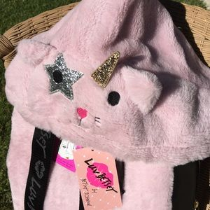 Fluffy unicorn cat hoodie backpack Betsey Johnson